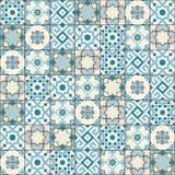 Марокканец шикарной безшовной картины белый голубой, португальские плитки, Azulejo, орнаменты Смогите быть использовано для обоев Стоковые Изображения RF