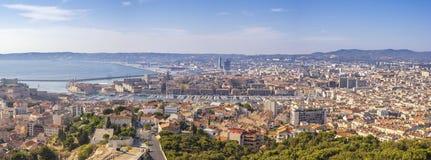 Марсель Франция, горизонт города панорамы вида с воздуха стоковая фотография