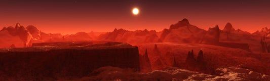 Марсианский ландшафт Панорама Марса стоковое фото rf
