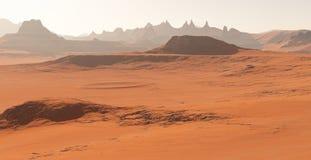 Марс - красная планета Марсианский ландшафт и пыль в атмосфере Иллюстрация штока