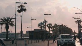 16 марта 2019/Кипр, набережная Пафоса с пристанью для яхты в дождливую погРакции видеоматериалы