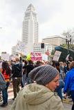 Март для нашего марша ` s движения жизней в городском Лос-Анджелесе Стоковая Фотография RF