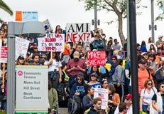 Март для нашего марша ` s движения жизней в городском Лос-Анджелесе Стоковые Изображения RF