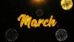 Март желает поздравительную открытку, приглашение, закрепленный петлей фейерверк торжества иллюстрация штока
