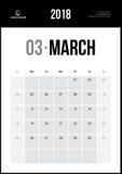 Март 2018 Минималистский календарь стены Стоковые Изображения