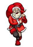 Маршируя Санта Клаус с сумкой Стоковые Изображения