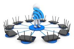 Маршрутизаторы вокруг персоны 3d с знаком Wi-Fi Стоковые Фотографии RF