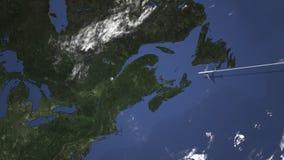 Маршрут коммерчески плоского летания к Квебеку (город), Канаде на карте 3D анимация вступления иллюстрация штока