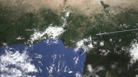 Маршрут коммерчески плоского летания к Лагосу, Нигерии на карте, 3D анимации акции видеоматериалы
