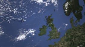 Маршрут коммерчески плоского летания к Эдинбургу, Великобритании на карте 3D анимация вступления иллюстрация штока