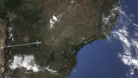 Маршрут коммерчески плоского летания к Campinas, Бразилии на карте 3D анимация вступления иллюстрация вектора
