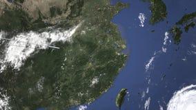 Маршрут коммерчески плоского летания к Shaoxing, Китаю на карте 3D анимация вступления сток-видео