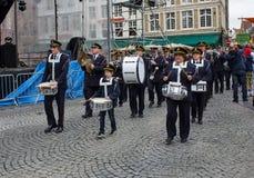 Марш диапазона в Брюгге Стоковые Изображения RF