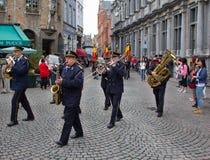 Марш диапазона в Брюгге Стоковое Изображение RF
