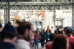 Марш закрытой улицы транспорта политический во время француз Nat Стоковые Фотографии RF