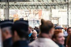 Марш закрытой улицы транспорта политический во время француз Nat Стоковые Изображения RF