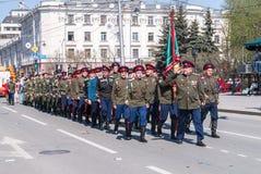 Марш казаков на параде Стоковое Изображение
