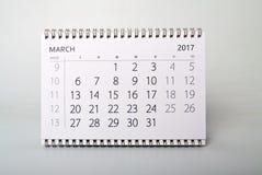 марш Календарь года две тысячи 17 Стоковые Изображения RF
