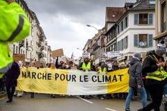 Марш льет демонстрацию протеста в марше Le Climat на французском stre стоковое фото