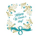 Марш поздравительной открытки дня женщин s Иллюстрация вектора