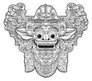 Маска вектора демона Barong вероисповедания стиля doodle вектора балийская, изображение книги расцветки Стоковое Изображение RF