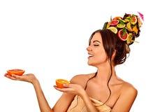 Маска волос и ухода за лицом от свежих фруктов для концепции женщины Стоковые Изображения