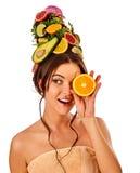 Маска волос и ухода за лицом от свежих фруктов для концепции женщины Стоковая Фотография RF