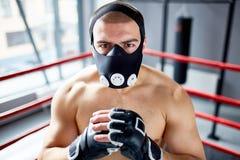 Маска выносливости сильного боксера нося Стоковая Фотография RF