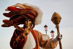 Маска и костюм красочной масленицы золото-бежев-коричневая на традиционном фестивале в Венеции, Италии стоковая фотография rf