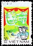 Маска и пагода, договор сотрудничества между serie Вьетнама и Кампучии, около 1984 стоковые изображения