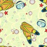 Маска и флипперы на дне моря Стоковые Фото