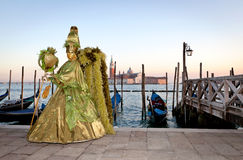 Маска масленицы в Венеции, Италии Стоковые Фото