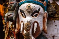 Маска на виске Swayambunath, Катманду Ganesh, Непал стоковое изображение rf