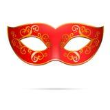 Маска партии марди Гра масленицы вектора красная венецианская Стоковое Фото