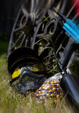 Маска пейнтбола с краской splatterd на ей Стоковые Изображения RF