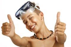 Маска подныривания мальчика Стоковые Фотографии RF