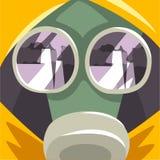 Маска противогаза, страдание людей от точной пыли, промышленного смога, загрязнения воздуха окружающей среды, иллюстрации вектора бесплатная иллюстрация