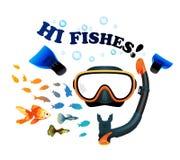 Маска с шноркелем на белой предпосылке с рыбами Стоковое Изображение