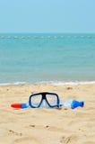 Маска шноркеля на пляже Стоковое Фото