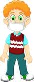 Маска дыхания милого шаржа мальчика нося для защищает респираторное заболевание иллюстрация штока