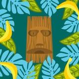 Маска Tiki и предпосылка рамки листьев ладони Стоковые Изображения RF