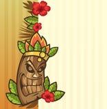 Маска Tiki с листьями и шаржем огня смешным Стоковое Изображение