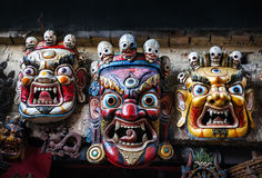 Маски Bhairab на рынке Непала Стоковые Фото