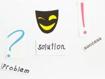 Маск-улыбка, wordproblem, разрешение и успех маркируйте вопрос Стоковое фото RF