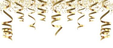 Масленица золотых лент партии богатая изолированная в бело- переводе 3d иллюстрация вектора