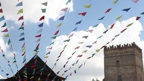 Масленица празднует флаги партии знамени видеоматериал
