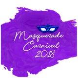 масленица 2018 рукописного \ «masquerade \» белое оформление на purpl Стоковая Фотография