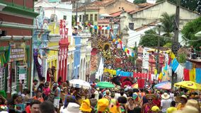Масленица улицы Olinda, Бразилии, patrimony города культурного гуманности акции видеоматериалы