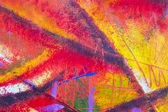 Масло и acrylic абстрактного искусства первоначально красят картину на холсте иллюстрация вектора