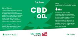 Масло конопли вектора зеленое Масло CBD Ярлык лист марихуаны иллюстрация вектора